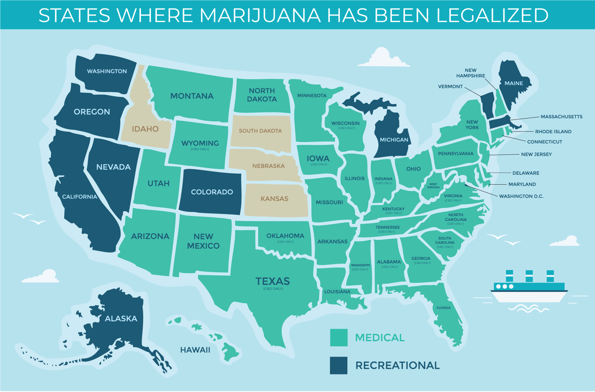 States that have legalized medical cannabis or recreational use