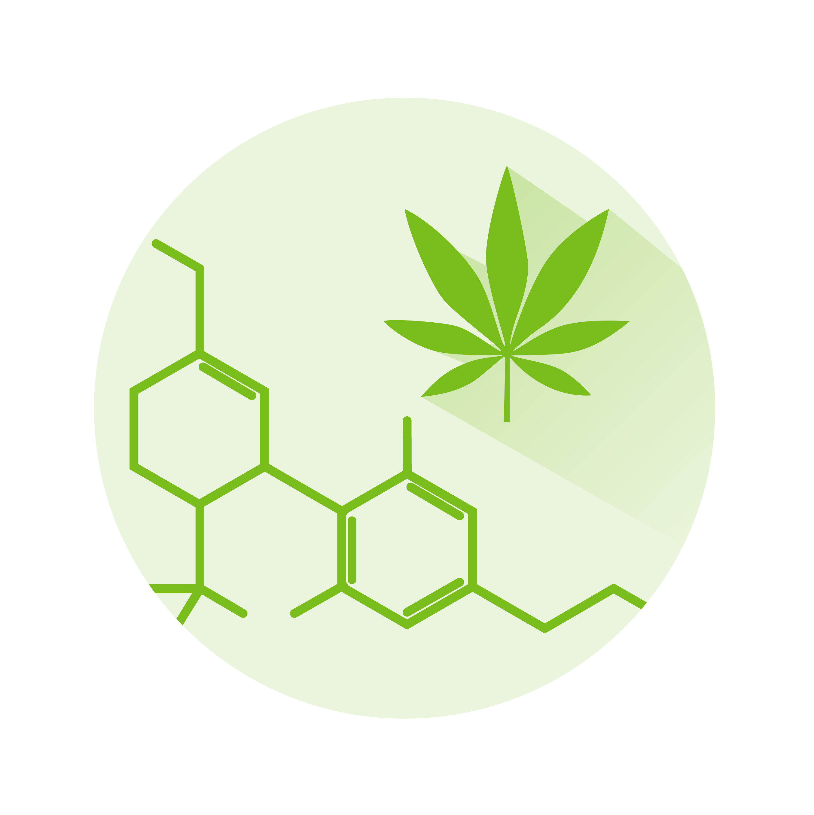marijuana leaf and chemical structure