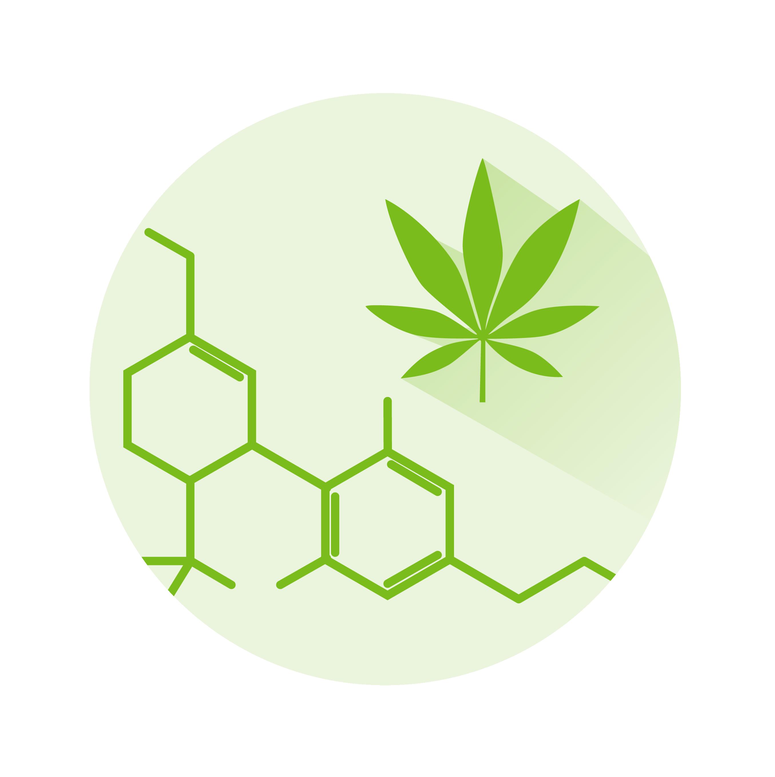 marijuana leaf and chemical structure