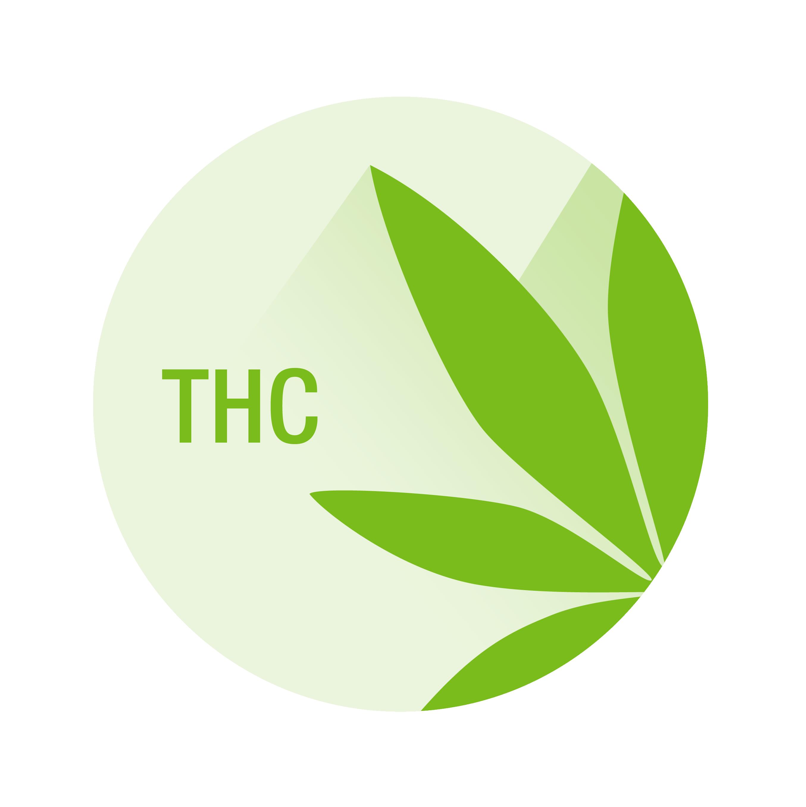 THC label with marijuana leaf