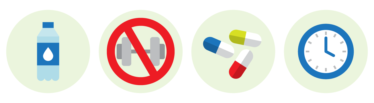 Water bottle, 'No exercise' logo, Medicine and vitamin capsules, Analog wall clock