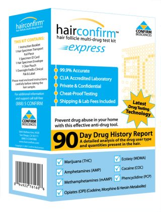 Hair Confirm Express Hair Drug Testing Kit Box